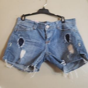 Blue jean shorts size 13 with rips by first kiss